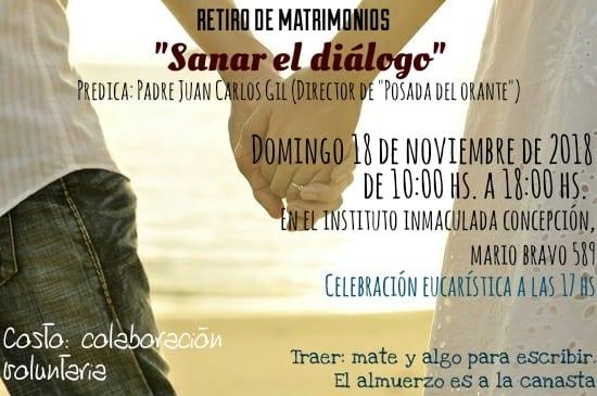 «Sanar el diálogo» – Retiro de matrimonios – Domingo 18/11